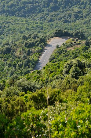 Aerial View of Road, Corsica, France Stock Photo - Premium Royalty-Free, Code: 600-05281889