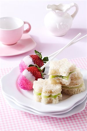 Tea Sandwiches and Candy Strawberries Stock Photo - Premium Royalty-Free, Code: 600-05524109