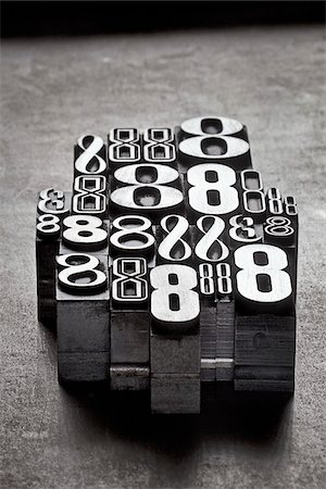 Metal Letterpress Number 8's Stock Photo - Premium Royalty-Free, Code: 600-05524429