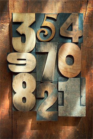 Wooden Letterpress Numbers Stock Photo - Premium Royalty-Free, Code: 600-05524423