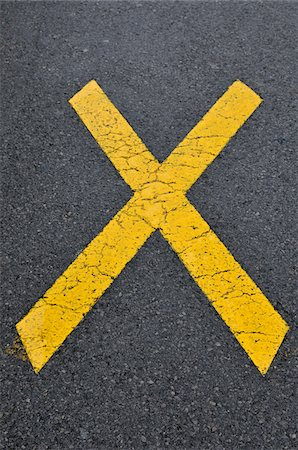 restrained - Yellow, X Marking on Road, Alps, France Stock Photo - Premium Royalty-Free, Code: 600-05524679