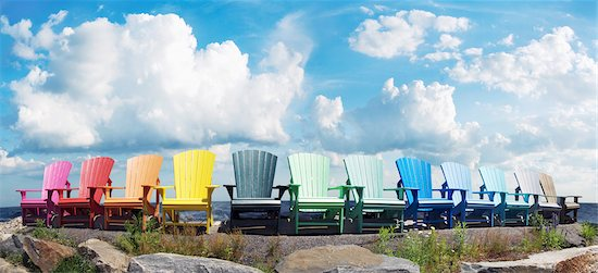 Muskoka Chairs by Lake Stock Photo - Premium Royalty-Free, Artist: Andrew Kolb, Image code: 600-05524671