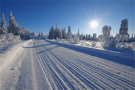 roads and sun - Road, Kuusamo, Northern Ostrobothnia, Oulu Province, Finland Stock Photo - Premium Royalty-Free, Code: 600-05609997