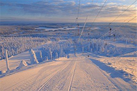 Ski Lift, Rukatunturi, Kuusamo, Northern Ostrobothnia, Finland Stock Photo - Premium Royalty-Free, Code: 600-05610057