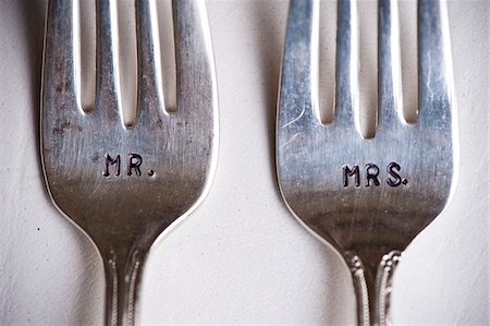 Close-up of Mr. and Mrs. Forks at Wedding, Muskoka, Ontario, Canada Stock Photo - Premium Royalty-Free, Code: 600-05641653