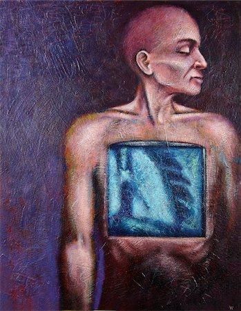 slim - Conceptual Illustration of Man having Lungs X-rayed Stock Photo - Premium Royalty-Free, Code: 600-05756477