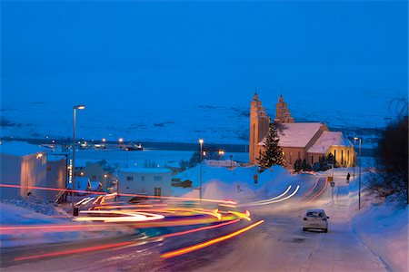 small town snow - Traffic on Winter Roads at Night, Akureyri, Iceland Stock Photo - Premium Royalty-Free, Code: 600-05786264