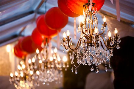 decorations - Chandeliers and Paper Lanterns Stock Photo - Premium Royalty-Free, Code: 600-05786642