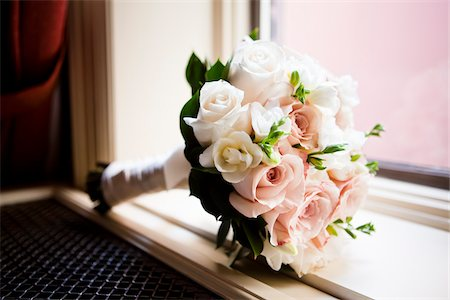 Close-up of Bridal Bouquet on Window Sill Stock Photo - Premium Royalty-Free, Code: 600-05803395