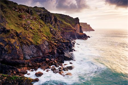 rugged landscape - Waves Breaking below Rugged Sea Cliffs, Rumps Point, Cornwall, England Stock Photo - Premium Royalty-Free, Code: 600-05803648