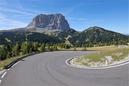 Hairpin Turn, Passo Gardena, and Mount Langkofel, Dolomites, South Tyrol, Trentino-Alto Adige, Italy Stock Photo - Premium Royalty-Free, Code: 600-05821926