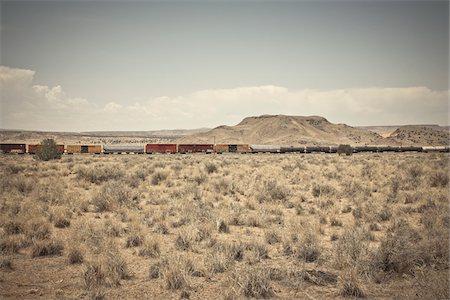 Freight Train, Route 66, New Mexico, USA Stock Photo - Premium Royalty-Free, Code: 600-05822086