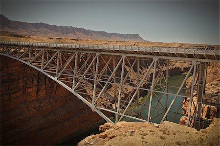 Navajo Bridge crossing over the Colorado River's Marble Canyon near Lee's Ferry, Arizona, USA Stock Photo - Premium Royalty-Free, Code: 600-05837325