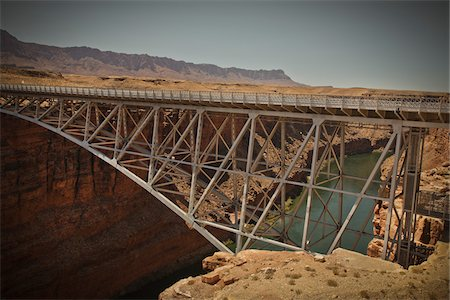 Navajo Bridge crossing over the Colorado River's Marble Canyon near Lee's Ferry, Arizona, USA Stock Photo - Premium Royalty-Free, Code: 600-05837325