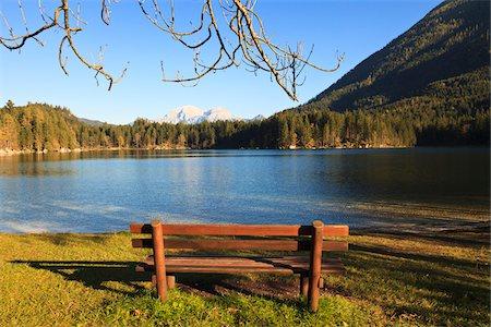 fall trees lake - Bench by Lake Hintersee, Bavaria, Germany Stock Photo - Premium Royalty-Free, Code: 600-05837551