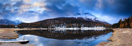 fall trees lake - Lej da Staz, Engadin, Switzerland Stock Photo - Premium Royalty-Free, Code: 600-05837593