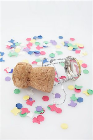 Champagne Cork and Confetti Stock Photo - Premium Royalty-Free, Code: 600-05854215