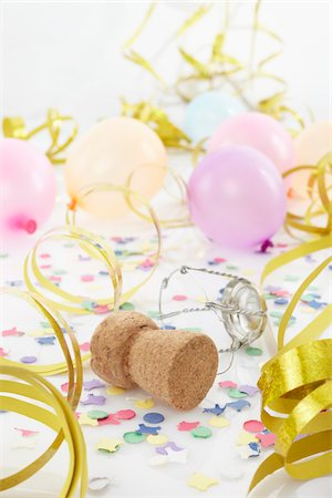 Champagne Cork, Balloons and Streamers Stock Photo - Premium Royalty-Free, Code: 600-05854213