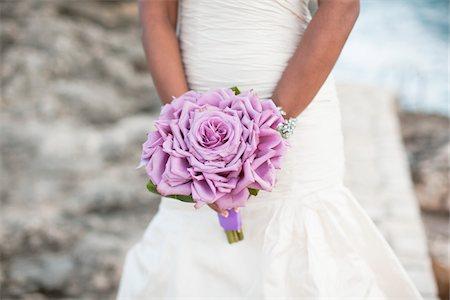 purple - Bride Hodling Bouquet, Negril, Jamaica Stock Photo - Premium Royalty-Free, Code: 600-05973583