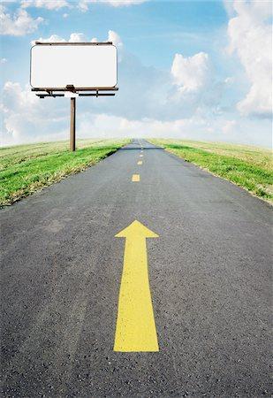 Bicycle Path and Blank Billboard Stock Photo - Premium Royalty-Free, Code: 600-06009085