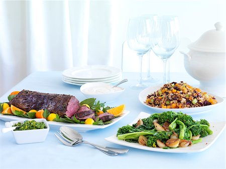 Roast Beef Dinner with Rapini and Bean Salad Stock Photo - Premium Royalty-Free, Code: 600-06038254