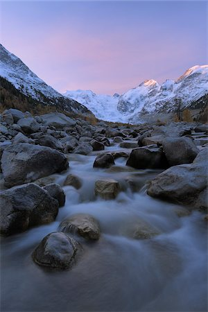 streams scenic nobody - View from Val Morteratsch to Morteratsch Glacier, Piz Morteratsch, Piz Bernina, Engadin, St Moritz, Graubunden, Switzerland Stock Photo - Premium Royalty-Free, Code: 600-06038281
