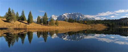 fall trees lake - Wildensee with Karwendel Mountains in Autumn, Mittenwald, Garmisch-Partenkirchen, Upper Bavaria, Bavaria, Germany Stock Photo - Premium Royalty-Free, Code: 600-06038290