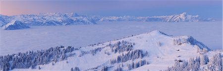 snow covered trees - View from Rigi at Sunrise with Rotstock in Foreground and Mount Pilatus in Background, Arth, Lucerne, Canton Schwyz, Switzerland Stock Photo - Premium Royalty-Free, Code: 600-06038309