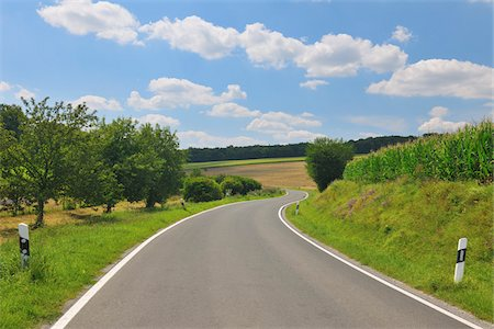 Country Road in Summer, Butthard, Wurzburg District, Franconia, Bavaria, Germany Stock Photo - Premium Royalty-Free, Code: 600-06119747