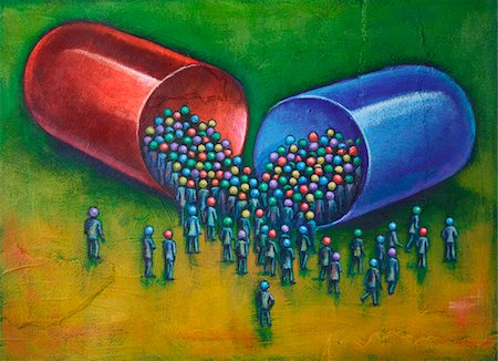 figura - Illustration of Large Capsule Pill with a Crowd of People Gathered around the Pill Foto de stock - Sin royalties Premium, Código: 600-06282085