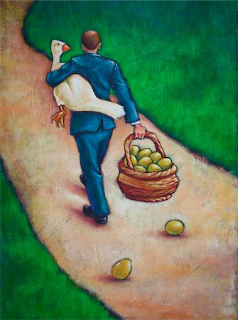 Illustration of Back View of Businessman Walking on Path, holding a Goose and carrying a Basket of Golden Eggs Stock Photo - Premium Royalty-Free, Code: 600-06282086