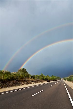 rainbow - Double Rainbow over Road, Majorca, Spain Stock Photo - Premium Royalty-Free, Code: 600-06334234
