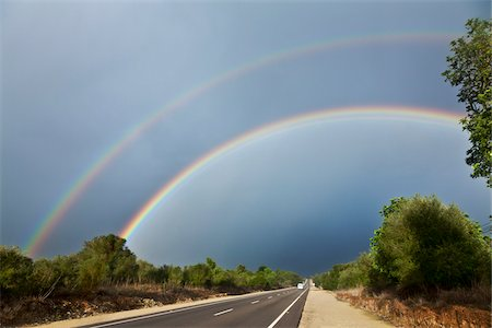 rainbow - Double Rainbow over Road, Majorca, Spain Stock Photo - Premium Royalty-Free, Code: 600-06334235