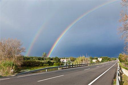rainbow - Double Rainbow over Road, Majorca, Spain Stock Photo - Premium Royalty-Free, Code: 600-06334233