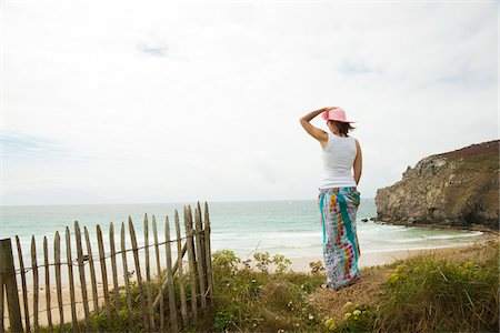 Rear View of Woman on Beach, Camaret-sur-Mer, Crozon Peninsula, Finistere, Brittany, France Stock Photo - Premium Royalty-Free, Code: 600-06382804