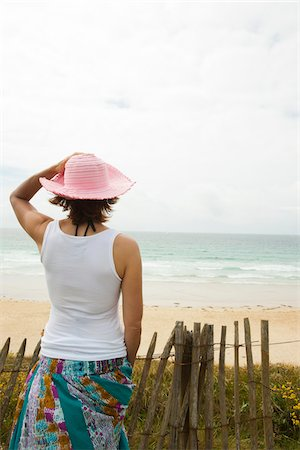 Rear View of Woman on Beach, Camaret-sur-Mer, Crozon Peninsula, Finistere, Brittany, France Stock Photo - Premium Royalty-Free, Code: 600-06382803
