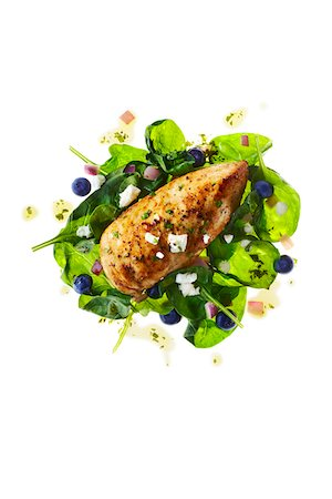 salad - Chicken Breast with Spinach, Feta Cheese and Blueberries Stock Photo - Premium Royalty-Free, Code: 600-06382994