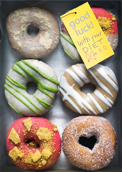 Designer Donuts with Note Stock Photo - Premium Royalty-Free, Artist: Andrew Kolb, Image code: 600-06383843