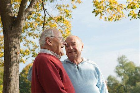 Senior Men Talking Outdoors in Autumn, Lampertheim, Hesse, Germany Stock Photo - Premium Royalty-Free, Code: 600-06397474