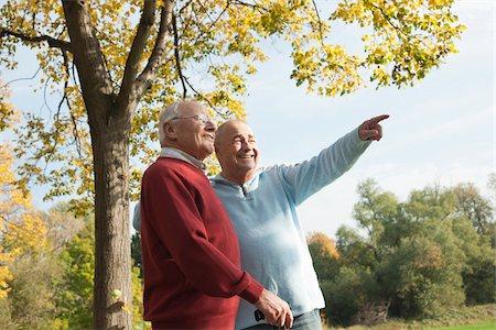 Senior Men Outdoors in Autumn, Lampertheim, Hesse, Germany Stock Photo - Premium Royalty-Free, Code: 600-06397475