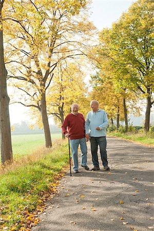 Senior Men Walking on Tree-lined Path in Autumn, Lampertheim, Hesse, Germany Stock Photo - Premium Royalty-Free, Code: 600-06397472
