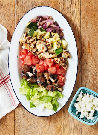 Chopped Meats and Vegetables on Plate with Feta Cheese on Side Stock Photo - Premium Royalty-Free, Code: 600-06397648