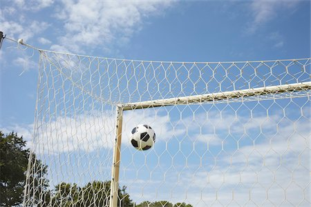 Soccer Ball in Goal, Cap Ferret, Gironde, Aquitaine, France Stock Photo - Premium Royalty-Free, Code: 600-06407726