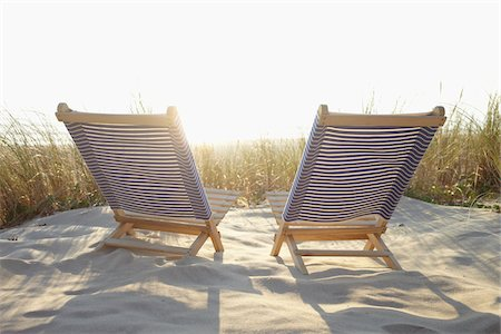 pair - Beach Chairs and Dune Grass on the Beach, Cap Ferret, Gironde, Aquitaine, France Stock Photo - Premium Royalty-Free, Code: 600-06407723