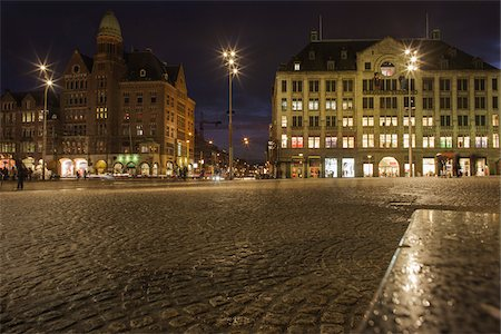 Dam Square at Night, Amsterdam, Netherlands Stock Photo - Premium Royalty-Free, Code: 600-06407802
