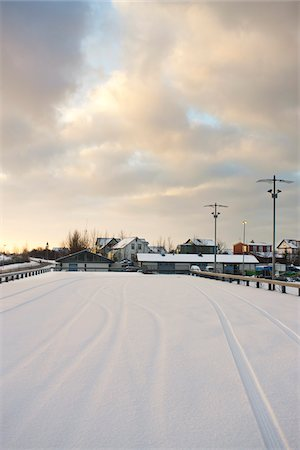small town snow - Snow Covered Parking Lot, Reykjavik, Greater Reykjavik, Iceland Stock Photo - Premium Royalty-Free, Code: 600-06407810
