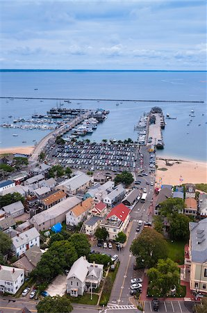 Overview of Town and Harbour, Provincetown, Cape Cod, Massachusetts, USA Stock Photo - Premium Royalty-Free, Code: 600-06431188