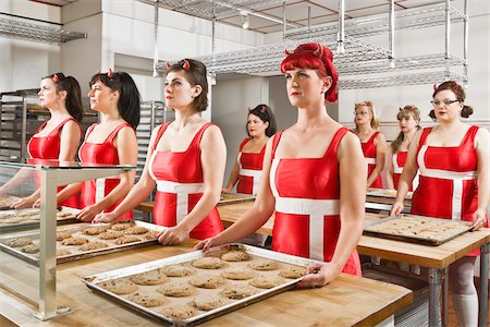 funny looking people - Women Wearing Devil Horns Working at a Bakery, Oakland, Alameda County, California, USA Stock Photo - Premium Royalty-Free, Code: 600-06431347