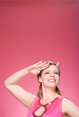 female only - Portrait of Woman Wearing Devil Horns and Saluting Stock Photo - Premium Royalty-Free, Code: 600-06431418