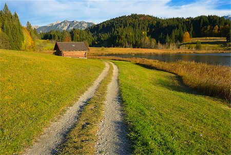 quaint - Dirt Road at Lake Geroldsee, Near Garmisch-Partenkirchen, Werdenfelser Land, Upper Bavaria, Bavaria, Germany Stock Photo - Premium Royalty-Free, Code: 600-06471342